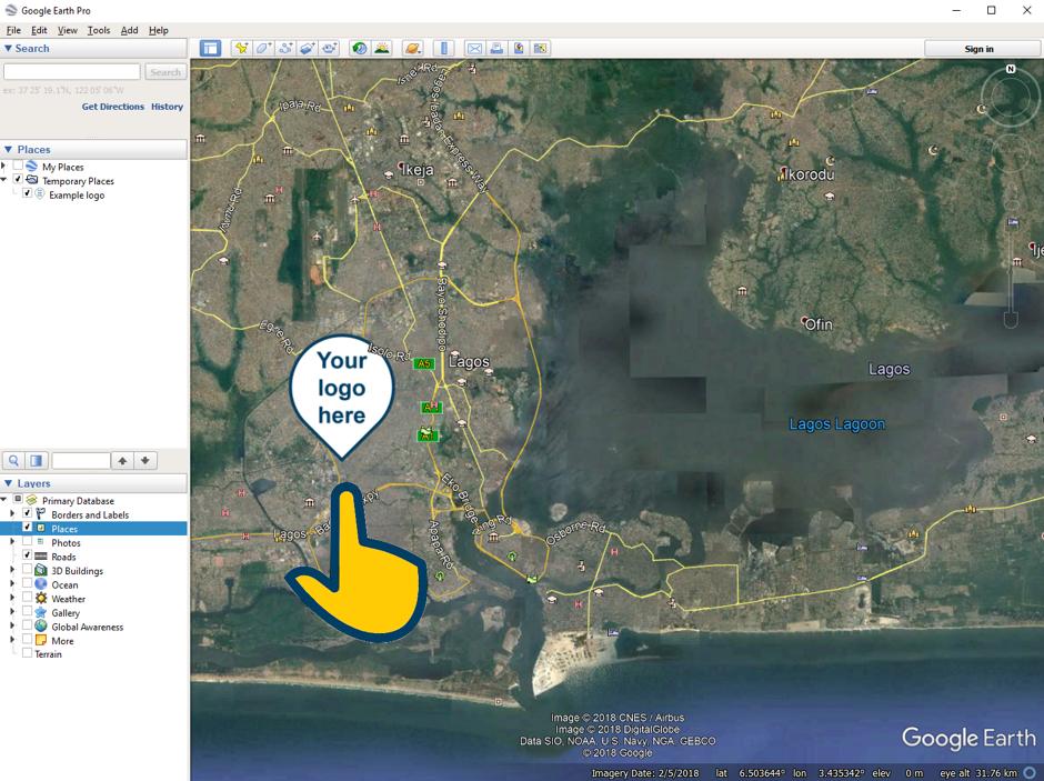 How to add a custom pin in Google Earth